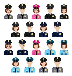 Set of policemen characters vector image