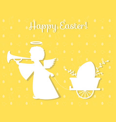 silhouette of an angel with easter egg paper art vector image