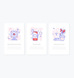 smart devices - line design style banners set vector image