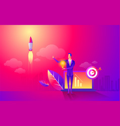 start rocket ship in a flat style business vector image