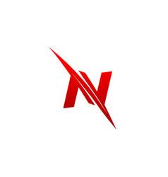 Trendy creative stylish sliced n initial based vector