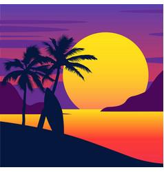 Tropical summer beach gradient beach sunset vector