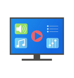 tv screen with icons buttons music vector image