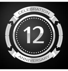 Twelve years anniversary celebration with silver vector