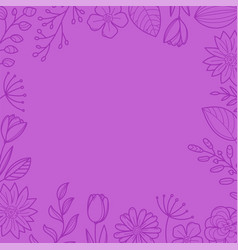 violet floral frame background template for a text vector image