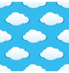 White fluffy clouds in a blue sky seamless pattern vector image