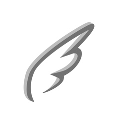 White simple wing icon isometric 3d style vector image