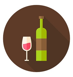 Wine Bottle with Glass Circle Icon vector image