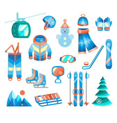 winter sports and fun color flat icons set vector image