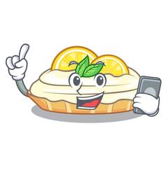 With phone cartoon lemon cake with sugar powder vector