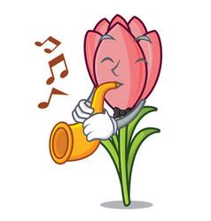 with trumpet crocus flower mascot cartoon vector image