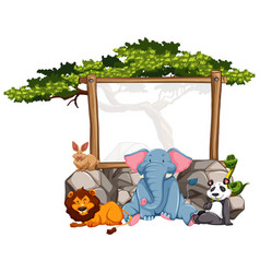 Wooden frame with wild animals vector