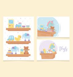 wooden shelves and boxes cartoon kids toys vector image
