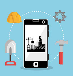 worker under construction with smartphone vector image
