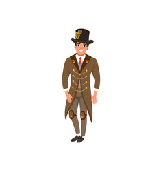 Young man in steampunk suit cheerful guy in vector