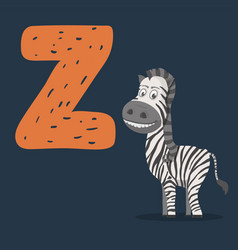 Zebra character with letter z vector