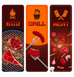 bbq meat and grill vertical banners set barbeque vector image