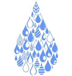 blue drops group set vector image