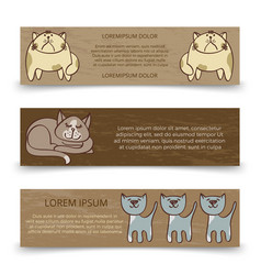cute hand drawn cats banners template vector image vector image