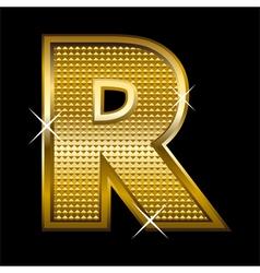 Golden font type letter R vector image vector image