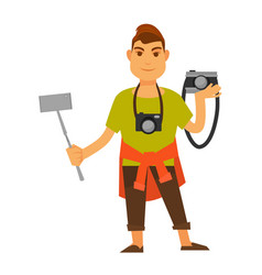 modern photographer with modern and old equipment vector image vector image