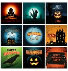 Multiple Halloween background poster ad collection vector image
