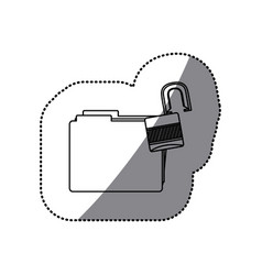 Sticker silhouette folder with paclock opened vector