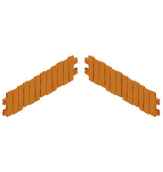 Wooden fence design on white background vector