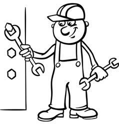 worker with wrench coloring page vector image