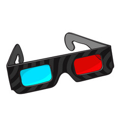 blue and red stereoscopic 3d glasses in black vector image