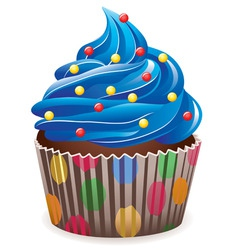 blue cupcake vector image