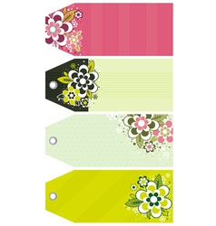 Labels with decorative flowers vector