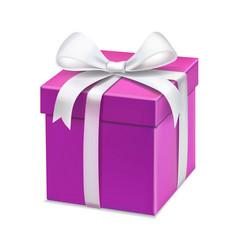 pink cartoon gift box white bow vector image