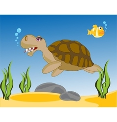 Sea terrapin in water vector image vector image
