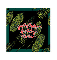 summer card with tropical leaves vector image