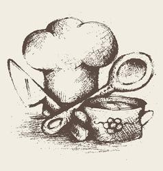 vintage cooking utensils vector image vector image