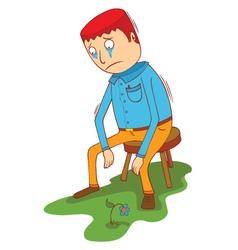 a sad man vector image