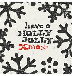 Merry Christmas Grunge Postcard Design On white vector image