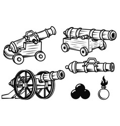 set of ancient cannons design elements for logo vector image vector image