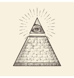 All seeing eye pyramid symbol New World Order vector image