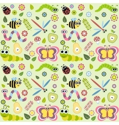 Pattern with cartoon insects vector image