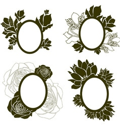 vintage frames with flowers vector image vector image
