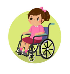 A little sad disabled girl in a wheelchair vector