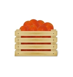 a wooden box with tomatoes vector image