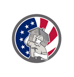 American building contractor usa flag icon vector
