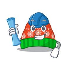 Architect winter hat in mascot shape vector