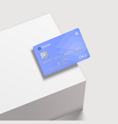 Bank card on a square white podium realistic vector