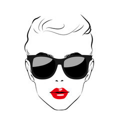 beautiful women face with sunglasses art vector image