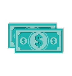Bills dollars isolated icon vector