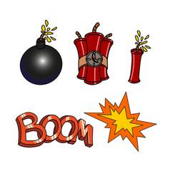 bomb boom set vector image